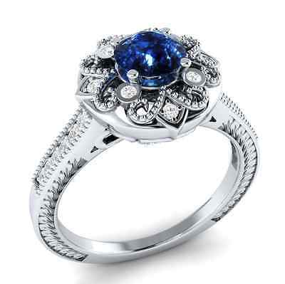 Fashion woman  Round Cut 1.95ct Blue Sapphire 925 Silver Ring Size 6-10