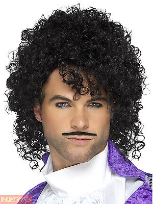 80s Purple Prince Musician Wig + Tash Mens Fancy Dress Costume Outfit Accessory