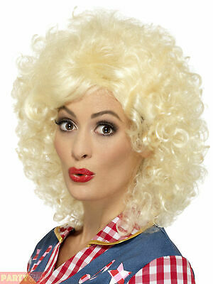 Ladies Wild West Cowgirl Wig Womens Dolly Parton 80s Fancy Dress Costume