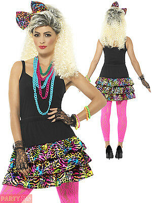 Ladies 80s Fancy Dress Costume Accessories Adult Retro 1980s Party Outfit Kit
