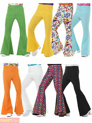 Mens 60s Flares Flared Trousers Adult 70s Disco Hippy Hippie Fancy Dress Costume
