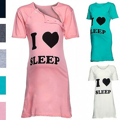 Happy Mama. Women's Maternity Nursing Breastfeeding Nightdress Shirt Gown. 990p