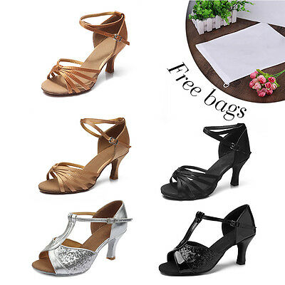 Women Girl lady's Ballroom Tango Latin Dance Dancing Shoes heeled Salsa HWC
