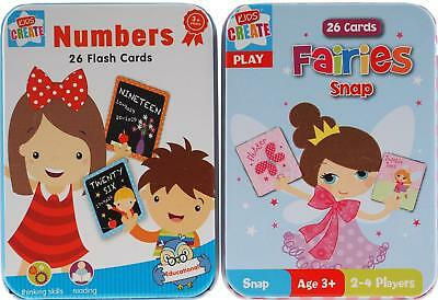 Set Of 2 Toddlers Fairy Snap / Numbers Flash Cards In Metal Tins - 3+