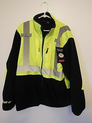 NWT TINGLEY J73022 Hi-Vis Reflective Fleece Phase 2 Coat Jacket Size XL Lime/Blk