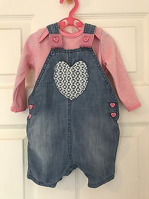 Gorgeous 2 Piece Short Style Dungarees 3-6 Months Baby Girl