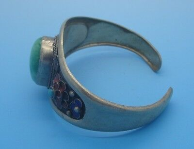 chinese Old tibet-silver handwork inlay green jade bead bracelet red flower