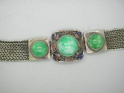 Collectible Old tibet-silver handwork inlay natural green jade bead bracelet