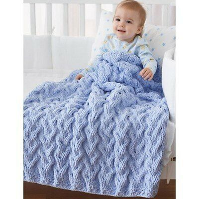 99p Shadow Cable Baby Blanket Knitting Pattern in PDF