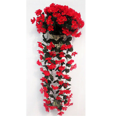 1 Bunches of Artificial Hanging Violet Garland Flowers Home Porch Decor Red