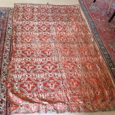 Rare Antique Chinese Uighar Handwoven Coral Silk Tapestry Embroidery Textile 2m