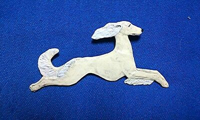 Saluki Leaping OOAK hand painted pewter pin b Cindy A. Conter Dog Jewelry 15T