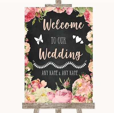 Chalkboard Style Pink Roses Welcome To Our Wedding Personalised Wedding Sign