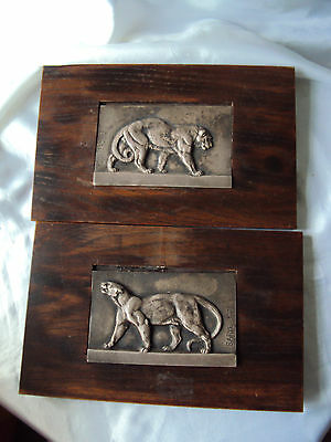 Pair of Antoine Louis Barye silvered bronze panther & leopard wall plaques