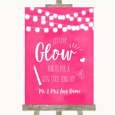 Hot Fuchsia Pink Watercolour Lights Let Love Glow Glowstick Wedding Sign