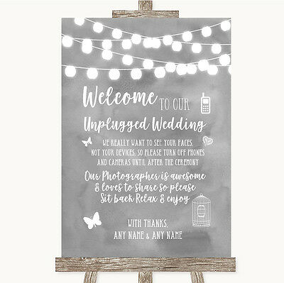 Grey Watercolour Lights No Phone Camera Unplugged Personalised Wedding Sign