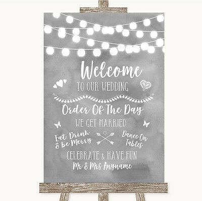 Grey Watercolour Lights Welcome Order Of The Day Personalised Wedding Sign