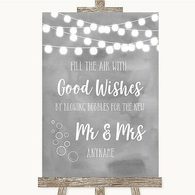 Grey Watercolour Lights Blow Bubbles Personalised Wedding Sign