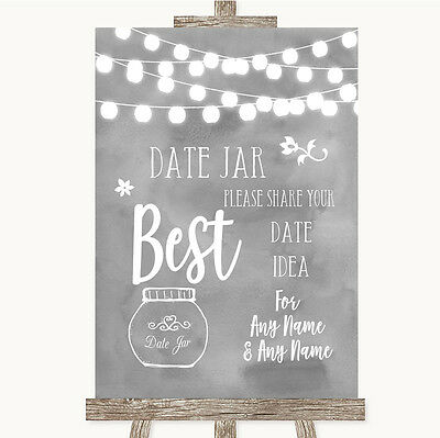 Grey Watercolour Lights Date Jar Guestbook Personalised Wedding Sign