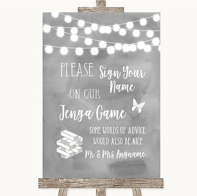 Grey Watercolour Lights Jenga Guest Book Personalised Wedding Sign