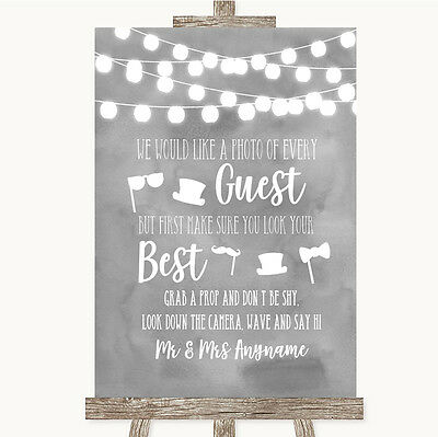 Grey Watercolour Lights Photo Prop Guestbook Personalised Wedding Sign