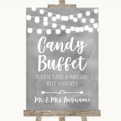 Grey Watercolour Lights Candy Buffet Personalised Wedding Sign