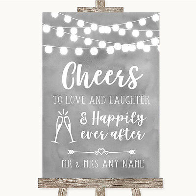 Grey Watercolour Lights Cheers To Love Personalised Wedding Sign