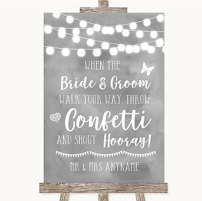 Grey Watercolour Lights Confetti Personalised Wedding Sign