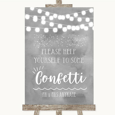 Grey Watercolour Lights Take Some Confetti Personalised Wedding Sign