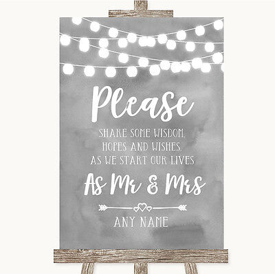 Grey Watercolour Lights Share Your Wishes Personalised Wedding Sign