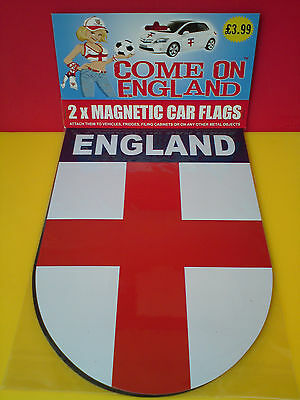 NEW St George Cross 2 Magnetic Flags 21x 30cm Come on England!