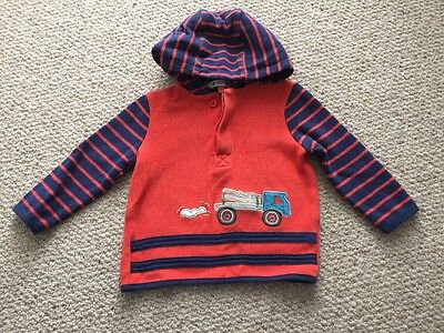 John Lewis Baby Boy Jumper Hoodie Top Long Sleeve Truck Stripe 9-12 Months