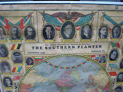 Vintage, The Southern Planter, Richmond, Virginia, World Leaders and World Map