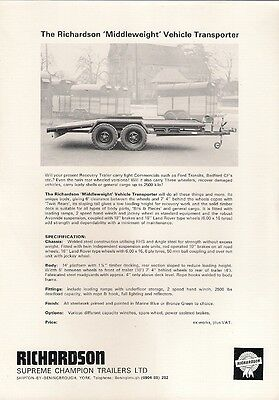Richardson Middleweight Vehicle Transporter Trailer UK Market Leaflet Brochure