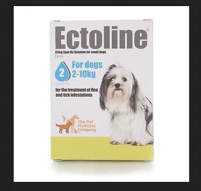 2 X Ectoline Treatment Of Flea and Tick  For Dogs 2-10KG 4X 0.67 (DATED 09/2017)