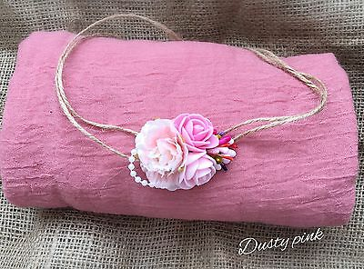 Soft Cheesecloth Wrap Swaddle Headband Baby Newborn Photography Prop Dusty Pink