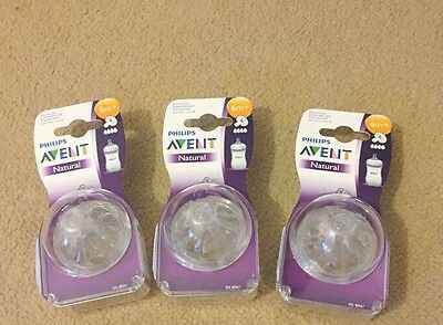 3x Philips Avent Natural 6months+ Teats. BRAND NEW.