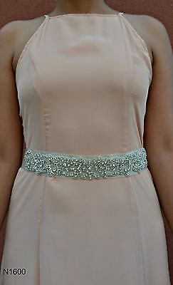"Beaded sparkling rhinestone crystal bridal sash with 2"" satin ribbon four colors"