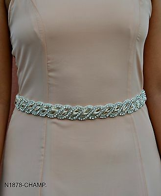 Elegant bridal sash belt braided design on champagne, white & ivory satin ribbon