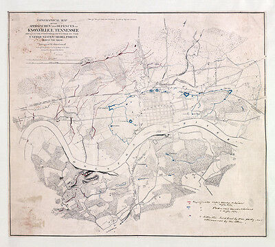 1864 Map of Knoxville Tennessee Region