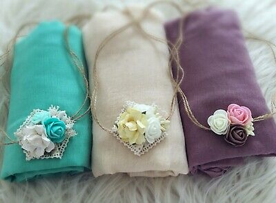 SET OF 3 Soft Cheesecloths Wrap Swaddle Headband Baby Newborn Photography Prop