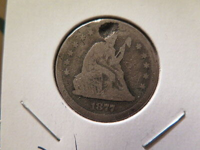 1877-S Liberty Seated Quarter - Damaged - Strong Details - Affordable Coin #8744