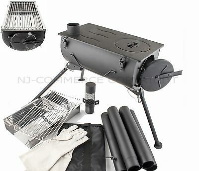 Frontier Wood Burning Stove Grill BBQ Portable Cooker Heater Camping Carry Bag