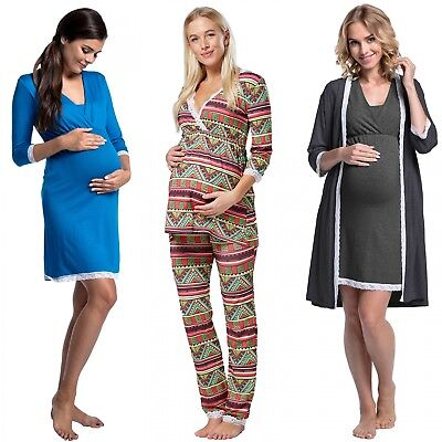 Happy Mama.Women's Maternity Top Nursing Breastfeeding Pyjamas Lace Details.591p