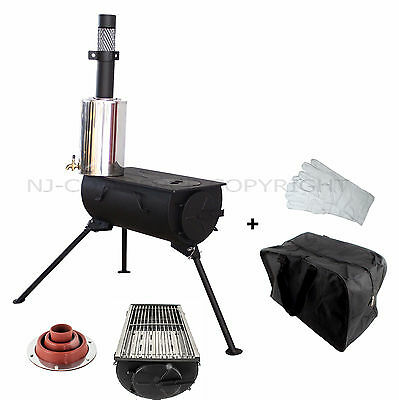 Camping Wood Burning Stove Grill BBQ Portable Cooker Heater Camping Carry Bag