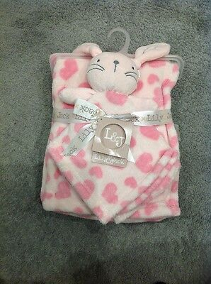 Baby Girls Pink Comfort Snuggle Blanket Set. Rabbit Hearts. Lily & and Jack. New
