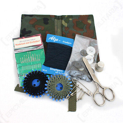 German Army Sewing Kit with Flecktarn Camo Case - Set Military Cadets Case New