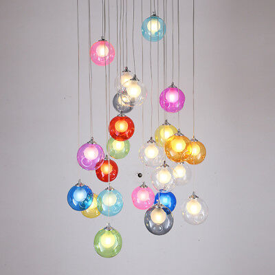 Colorful Globe Glass LED Single Pendant Light Chandelier Ceiling Lamp Lighting