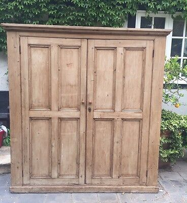 Antiques English Pine armoire with 4 shelves
