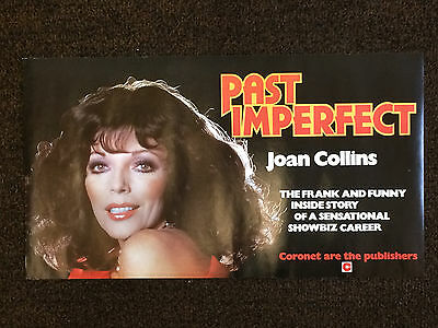 "JOAN COLLINS - RARE 19"" x 12"" Original UK Book Poster PAST IMPERFECT 1979"